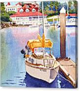 Yellow Sailboat And Coronado Boathouse Canvas Print