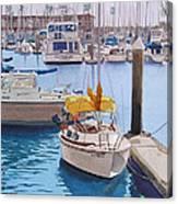Yellow Sailboat Oceanside Canvas Print
