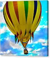 Yellow Striped Hot Air Balloon Canvas Print