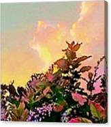 Yellow Sunrise And Flowers - Vertical Canvas Print