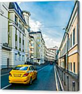 Yellow Taxi Of Moscow Canvas Print