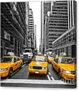 Yellow Taxis In New York City - Usa Canvas Print