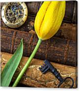 Yellow Tulip On Old Books Canvas Print