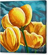 Yellow Tulips On Blue Canvas Print