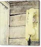 Yellow Vintage Telephone Canvas Print