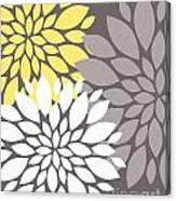 Yellow White Grey Peony Flowers Canvas Print