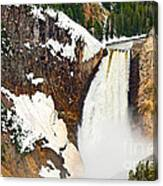 Yellowstone Falls From Lookout Point. Canvas Print