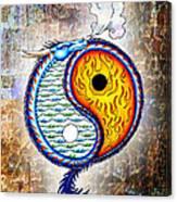 Yin And Yang Textured Canvas Print