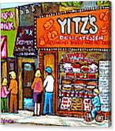 Yitzs Deli Toronto Restaurants Cafe Scenes Paintings Of Toronto Landmark City Scenes Carole Spandau  Canvas Print