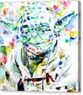 Yoda Watercolor Portrait.1 Canvas Print