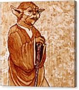 Yoda Wisdom Original Coffee Painting Canvas Print