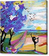 Yoga Under The Jacaranda Trees Canvas Print