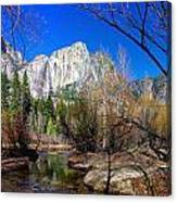 Yosemite Falls Along The Merced River Canvas Print