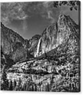 Yosemite Falls - Bw Canvas Print