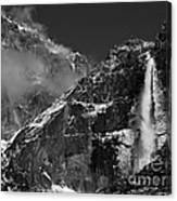 Yosemite Falls In Black And White Canvas Print