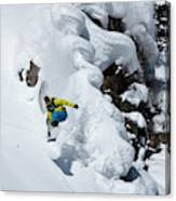 Young Adult Snowboarding Off Powder Canvas Print