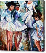 Young Ballerinas - Palette Knife Oil Painting On Canvas By Leonid Afremov Canvas Print