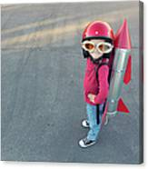 Young Boy Dressed In A Red Rocket Suit Canvas Print