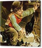 Young Boy With Birds In The Snow Canvas Print