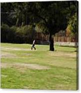 Young Boys Playing Cricket In A Park Near Delhi Zoo Canvas Print