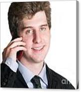 Young Business Man On The Cell Phone Canvas Print