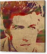 Young Clint Eastwood Actor Watercolor Portrait On Worn Parchment Canvas Print