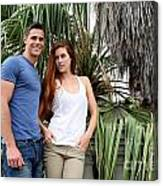 Young Couple Palm Tree Canvas Print