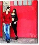 Young Couple Red Doors Canvas Print