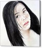 Young Filipina Beauty With A Mole On Her Cheek Model Kaye Anne Toribio Canvas Print