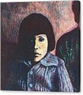 Young Girl In Blue Sweater Canvas Print
