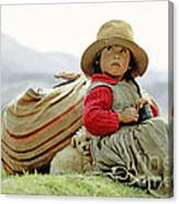 Young Girl In Peru Canvas Print