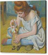 Young Girl Playing With A Doll Canvas Print