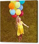 Young Happy Woman Flying On Colorful Helium Balloons Canvas Print