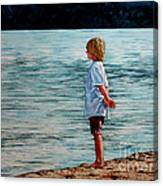 Young Lad By The Shore Canvas Print