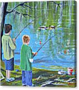 Young Lads Fishing Canvas Print