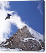 Young Man  Catches Huge Air While Canvas Print