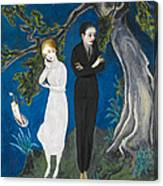 Young Man In Black. Girl In White Canvas Print