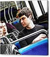 Young Men On The M4 Bus Canvas Print