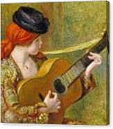 Young Spanish Woman With A Guitar Canvas Print