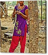 Young Tharu Village Woman In Traditional Nepali Clothing-nepal  Canvas Print