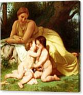 Young Woman Contemplating Two Embracing Children Canvas Print