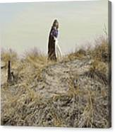 Young Woman In Cloak On A Hill Canvas Print