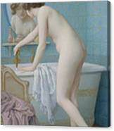 Young Woman Preparing Her Bath  Canvas Print