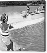 Young Woman Slalom Water Skis Canvas Print