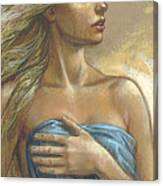 Young Woman With Blue Drape Crop Canvas Print