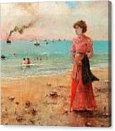 Young Woman With Red Umbrella Canvas Print