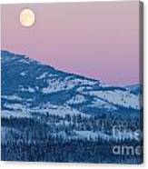 Yukon Canada Winter Landscape And Full Moon Rising Canvas Print
