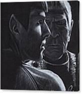 Zachary Quinto And Leonard Nimoy Canvas Print