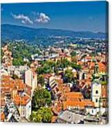 Zagreb Capital Of Croatia Aerial View Canvas Print