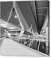 Zakim Bridge Twilight In Boston Bw Canvas Print